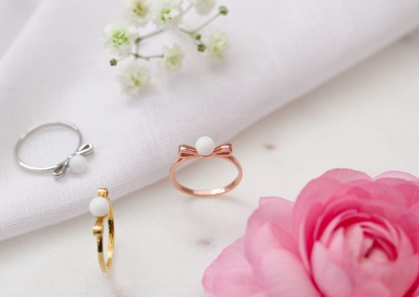 Bague Lait Maternel Boucle Perle Breastmilk Pearl Bow Ring