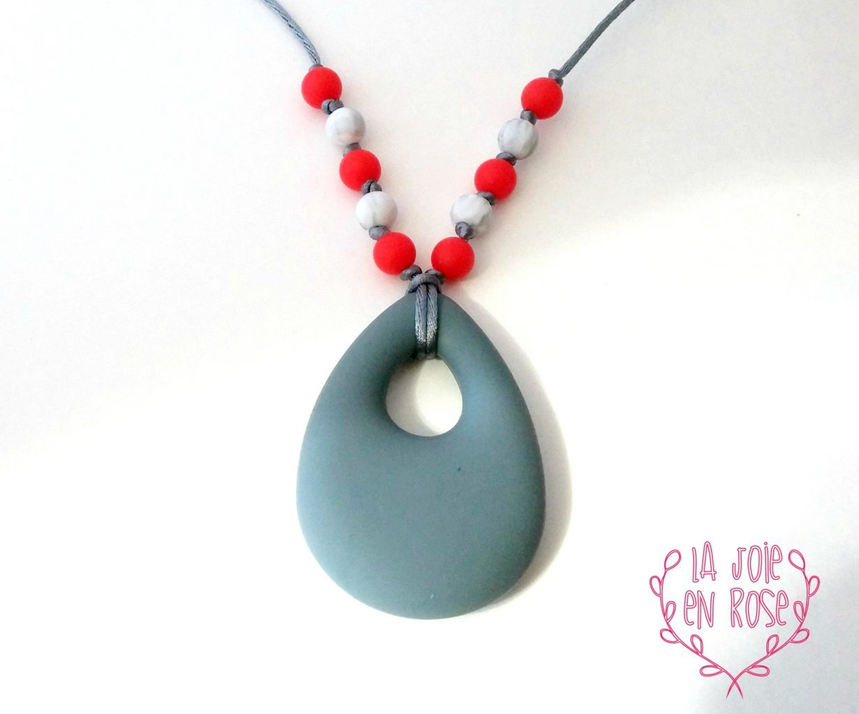 Drop teething necklace silicone necklace gray red marble drop teething necklace aloadofball Choice Image