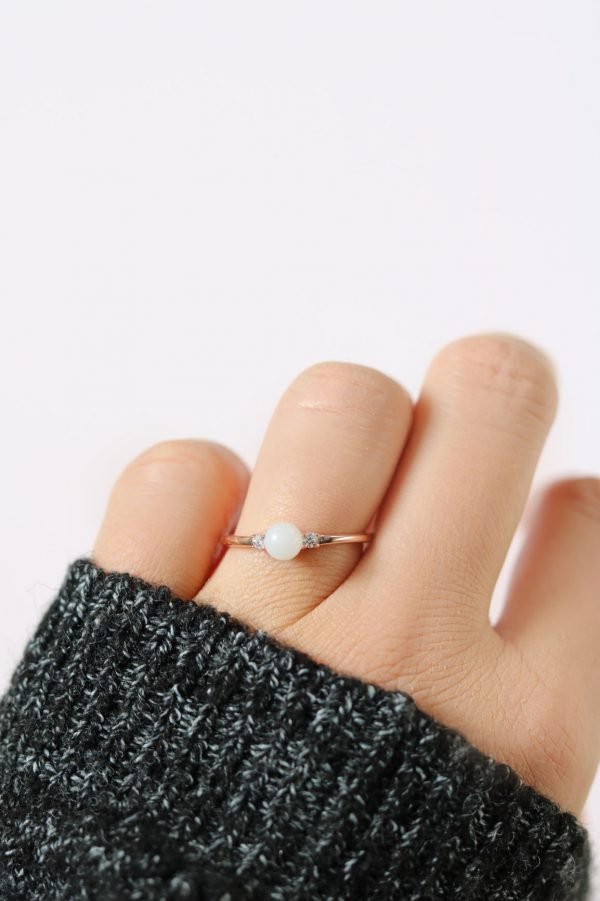 BreastMilk Ring Pearl Bague Lait Maternel Or Zircons