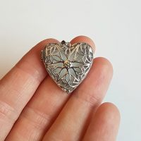Breastmilk 925 Sterling Silver Vintage Hollow Out Filigree Love Heart
